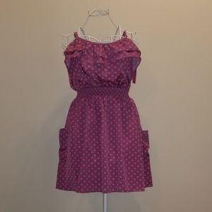 [Xhilaration] Purple w/Pink Polka Dot Ruffle Dress